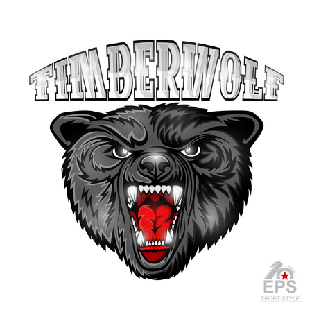 Beast wolf face from the front view with bared teeth. Logo for any sport team timberwolf isolated on white
