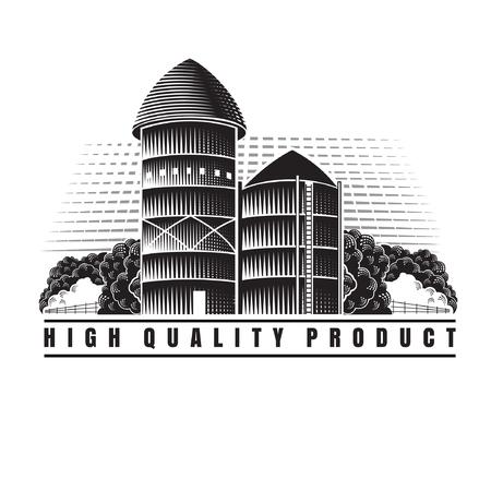 Farm granary and barn retro style vintage label