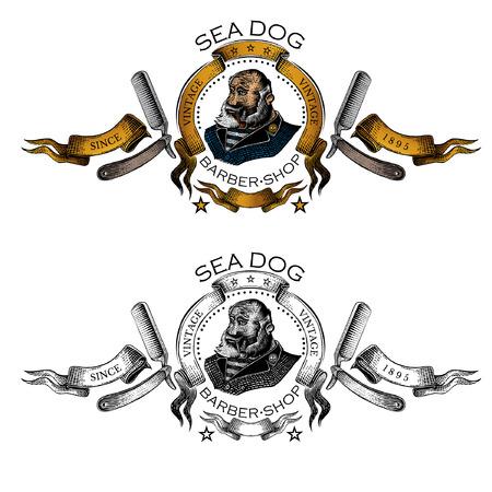 Hombre de barba, capitán con tubo en el centro de cinta dorada entre dos navajas en estilo grabado. Dos etiquetas o logotipos, negro y color para burbershop o diseño de camiseta