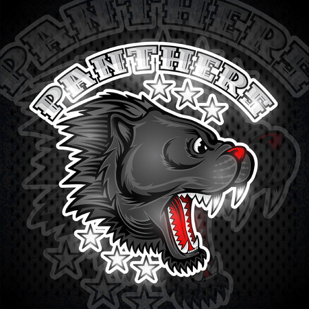 Beast face from the side view with bared teeth. Logo for any sport team panther Illustration