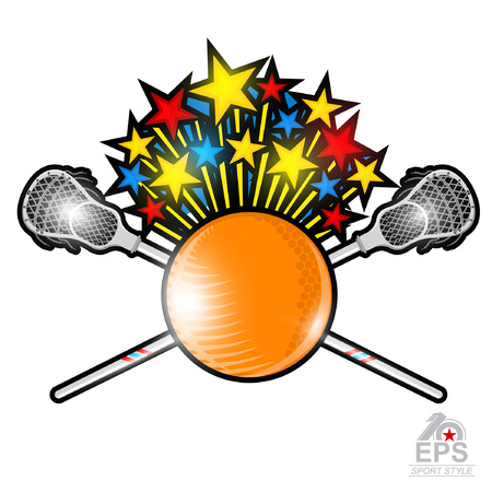 Fly out stars from lacrosse ball with crossed lacrosse stick in center of shield. Sport logo for any team or championship on white