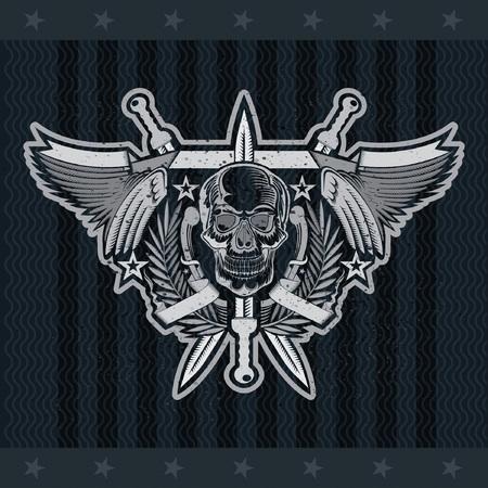 Front view skull in center of wreath between with wings and crossed swords. Vector heraldic design elements on blackboard