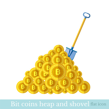 Flat icon with shovel with heap of bit coins. Mining bit coin business illustration isolated on white