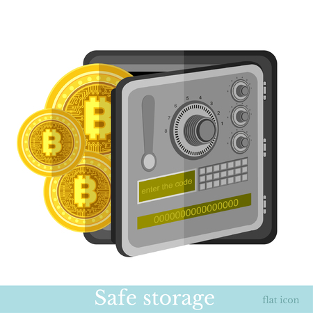 Flat icon bit coins with safe. Mining bit coin business illustration isolated on white