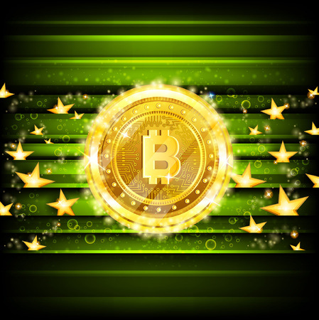 Golden bit coins and stars on green glossy background
