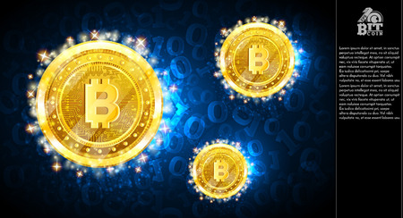 Golden bit coins flying on blue background with binary code