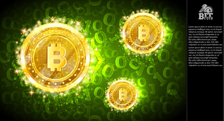 Golden bit coins flying on green horizontal background with binary code