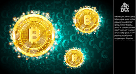 Golden bit coins flying on light blue horizontal background with binary code