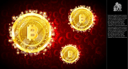 Golden bit coins flying on light red horizontal background with binary code Иллюстрация