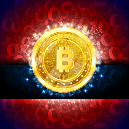 Golden bit coin in the center of red blue background with binary code