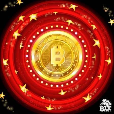 Golden bit coin in the center of red round tunnel with stars