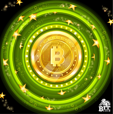 Golden bit coin in the center of green round frames with stars