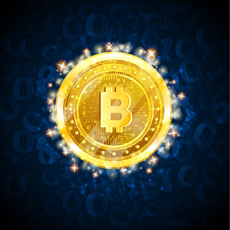 Golden bit coin in the center of blue background with binary code