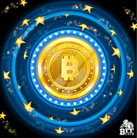 Golden bit coin in the center of blue round frames with stars Иллюстрация