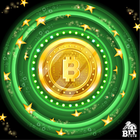 Golden bit coin in the center of light green round tunnel with stars