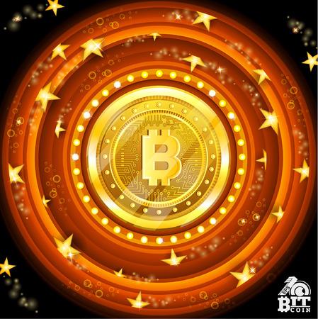 Golden bit coin in the center of orange round frames with stars Иллюстрация
