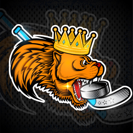 Gold crown on side view predator head with hockey puck in his mouth. Logo for any sport team cougar Çizim