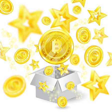 Golden bit coin in the center of flying coins and stars with depth of field effect from open gift box with