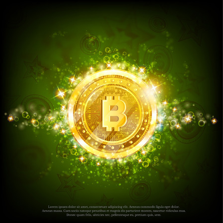 Golden bit coins with shiny sparkles in center on green glossy background Иллюстрация