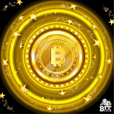 Golden bit coin in the center of yellow round frames with stars