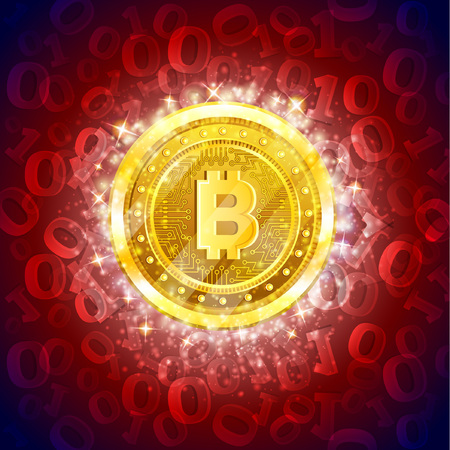 Golden bit coin in the center of red background with binary code Иллюстрация