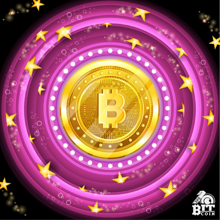 Golden bit coin in the center of violetround tunnel with stars