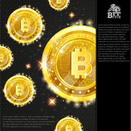 Golden bitcoins on dark background with binary code