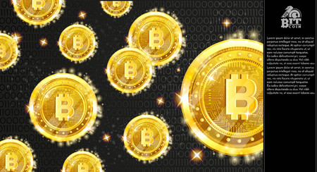 Golden bitcoins on dark horizontal background with binary code