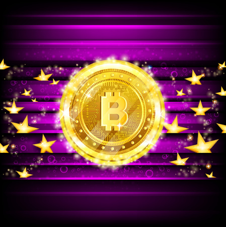Golden bit coins and stars on violet glossy background