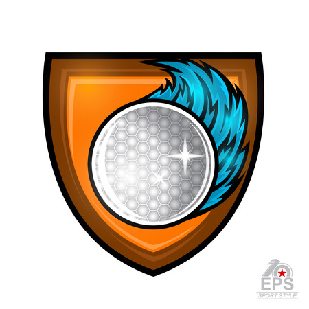 Golf ball with blue wind trail in center of shield isolated on white. Sport logo for any team or championship Illustration