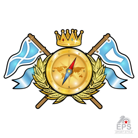Golden compass with crown between wreath and flags on white. Sport logo for any yachting or sailing team or championship
