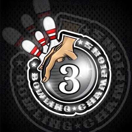 Main tenir la boule de bowling avec le numéro trois au centre et les quilles. Logo rond de sport pour n'importe quelle équipe ou championnat Logo