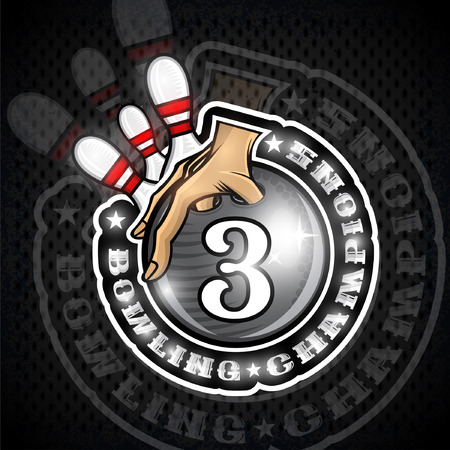Hand hold bowling ball with number three in center and skittles. Sport round logo for any team or championship
