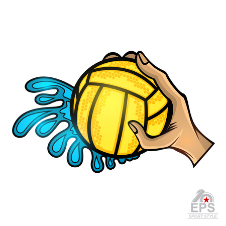 Hand hold water polo ball with water splash from one side. Vector sport logo for any team or competition isolated on white
