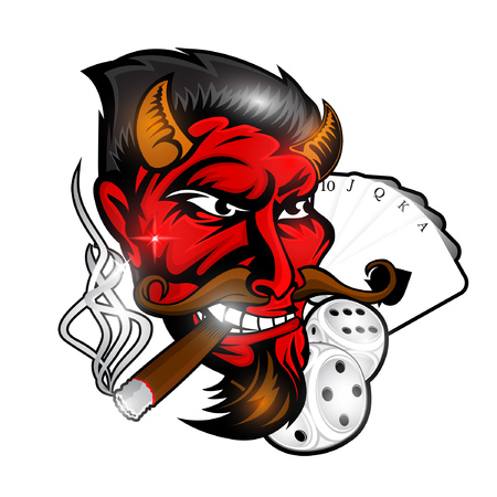 Head of smoking red devil between dice ,card motorcicle and skull. Label or logo for rockabilly, tattoo or sport team
