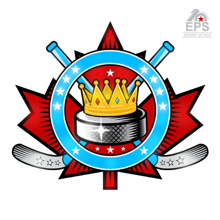 Hockey puck with crown and crosses hockey sticks on red maple leaf. Vector sport logo isolated on white for any team or competition Ilustração