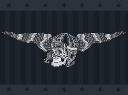 Monochrome illustration of skull with vintage motorcycle or aviator hat between wings with race flag isolated on dark background Illustration