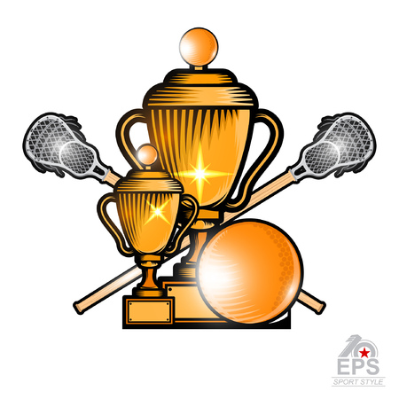 Lacrosse ball and crossed lacrosse stick with gold cup. Sport logo for any team or championship on white Illustration
