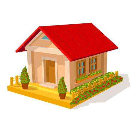 Isometric image of privat house isolated on white