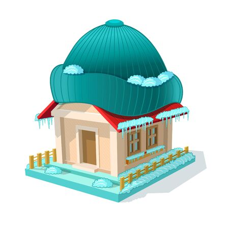 Isometric image of privat house with hat. Ecological modern home isolated on white  イラスト・ベクター素材