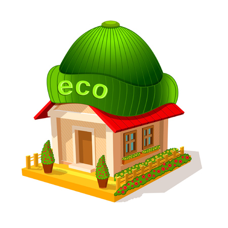 Isometric image of privat house with hat. Ecological modern warm home isolated on white