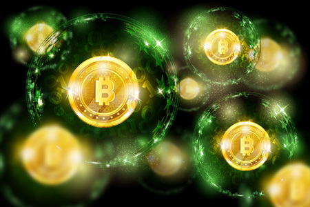 Group of round spheres with binary code and golden bit coin in the center. Business green horizontal background with depth of field effect