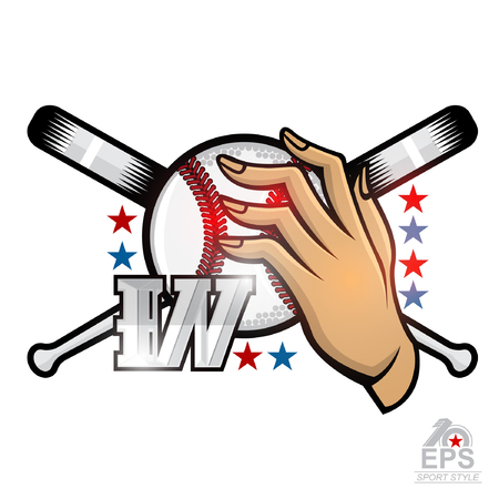 Lady hand hold baseball ball with letter W and cross bat. Sport logo isolated on white for any team or competition Ilustração