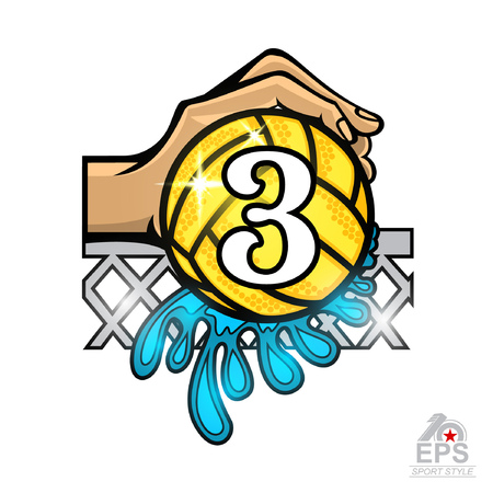 Hand hold water polo ball with water splash and number three in the middle. Vector sport logo on white for any team or competition Illustration