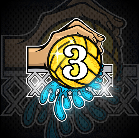 Hand hold water polo ball with water splash and number three in the middle. Vector sport logo on blackboard for any team or competition