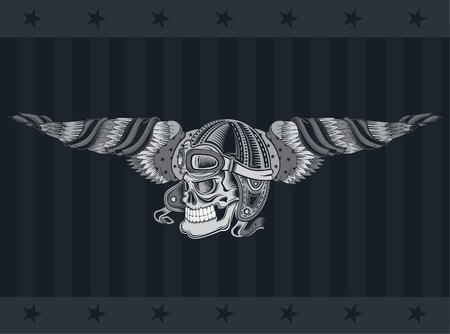 Monochrome illustration of skull with vintage motorcycle or aviator hat between wings with USA flag isolated on dark background
