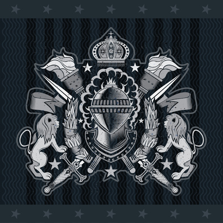 Knight helmet side view in center with crossed swords and torches between lions. Heraldic vintage label on blackboard Stock Vector - 121505164