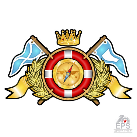 Lifebuoy with crown in center of golden wreath between wings and flags. Sport logo for any yachting or sailing team or championship isolated on white