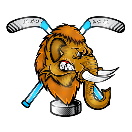 Mamoth face from the side view with hockey pucks and crossed stick. Logo for any sport team on white background