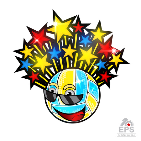 Multicolored stars fly out from beach volleyball ball character in sunglasses. Vector sport logo for any team and championship